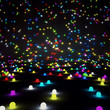 Abstract background, colored glowing balls