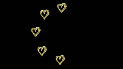 wedding arrangement of rotating hearts on a black background