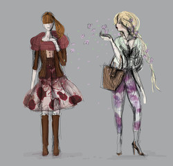 Spring floral outfits / Two trendy women go for a walk