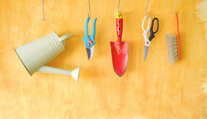 gardening tools, free copy space