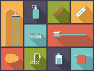 Body Care Flat Design Icons Vector Illustration
