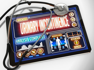 Urinary Incontinence on the Display of Medical Tablet.