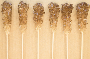 sugar crystals on wood sticks