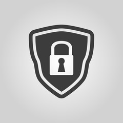 The shield icon. Security symbol. Flat
