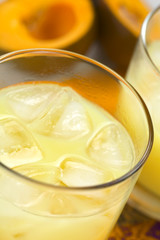 Peruvian cream liqueur made of lucuma fruit with ice