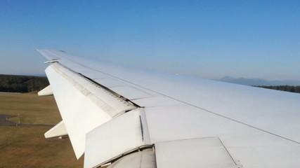 Timelapse aeroplane landing window seat look outside