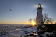 Leinwandbild Motiv Marblehead Lighthouse Sunrise