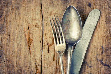 Fork, spoon and knife closeup