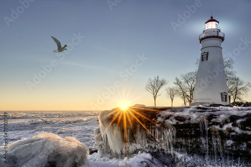 Fotobehang Vuurtoren / Mill Marblehead Lighthouse Winter Sunrise