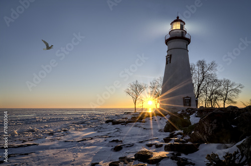 Foto op Aluminium Vuurtoren / Mill Marblehead Lighthouse Sunrise