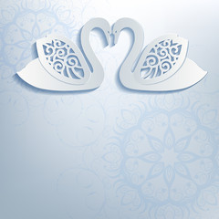 Wedding invitation with white swans.