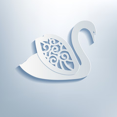 Decorative swan with shadow, 3d effect.