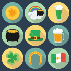 Set of icons on St. Patrick's Day. Flat style. Shadow. vector