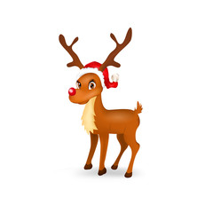 Illustration of funny reindeer with santa hat
