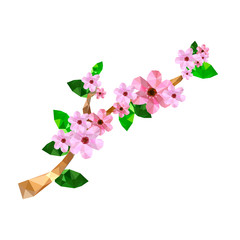 Illustration of origami branch with pink cherry blossom