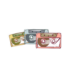 Illustration of three vintage audio cassette