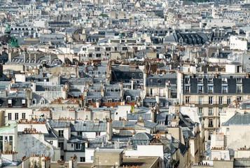 Classic Parisian buildings. Aerial view of roofs