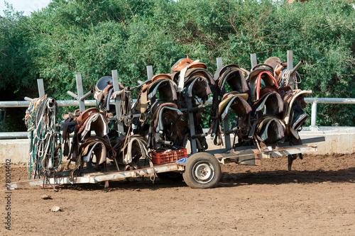 Papiers peints Chevaux cart with saddles