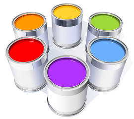 six metal cans with colorful paint