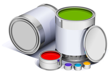 different metal cans with colorful  paint