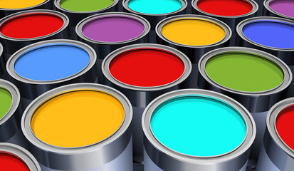 the metal cans with colorful paint