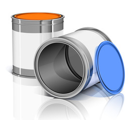two metal cans with colored lids