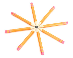 Orange pencils with erase