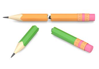 Two broken pencils