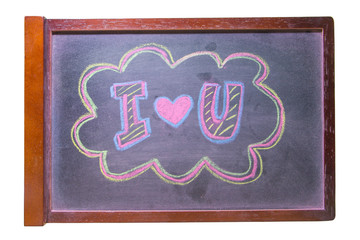 "Chalk hand drawing alphabet, ""I LOVE YOU""  on chalkboard backgr"