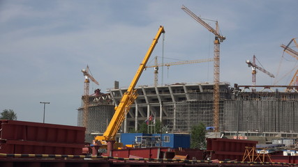 The construction of the stadium in St. Petersburg. 4K.