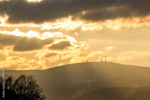 canvas print picture Brocken - goldenes Abendlicht
