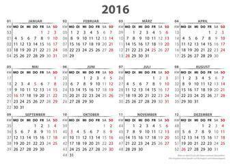 Kalendervorlage 2016, 16 BL in AI-  Format