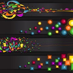Banner abstract black background