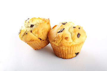 Muffins with butter and chocolate