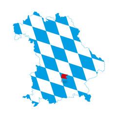 Bavaria, map - Munich marked
