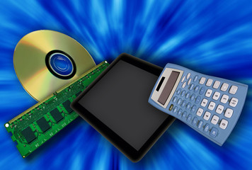 Digital devices on a blue background