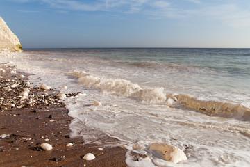 English chanel coast at Seven Sisters chalk cliffs, England.