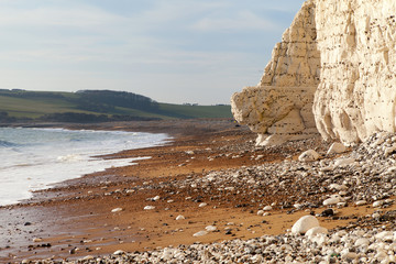 English chanel coast at Seven Sisters chalk cliffs, England.