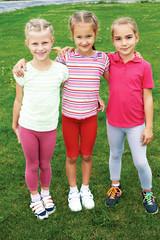 Group of different children having good summertime