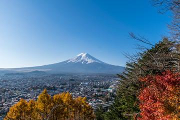 Mount Fuji with blue sky from Lake Kawaguchi, Japan