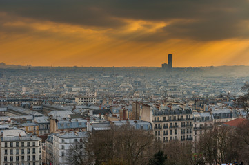 paris sky line with sun rays