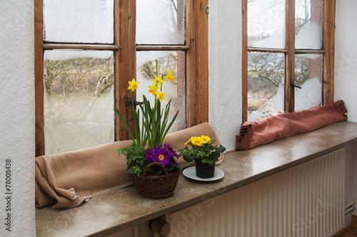 Leinwanddruck Bild Old fogged up wooden windows