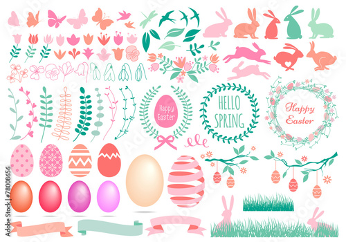 Happy Easter, set of vector design elements
