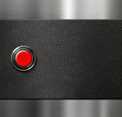 start engine red blank button on black leather and metal