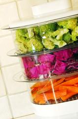 Colorful vegetables in steamer