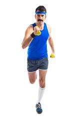 Sportman running with weightlifting