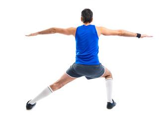 Sportman stretching