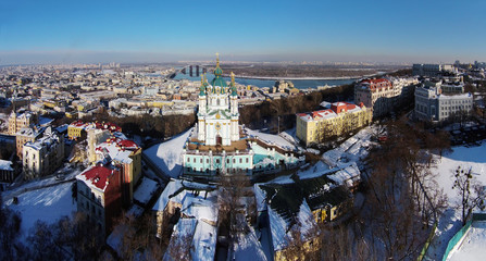 aerial view of Podol and St. Andrew's church in Kiev, Ukraine