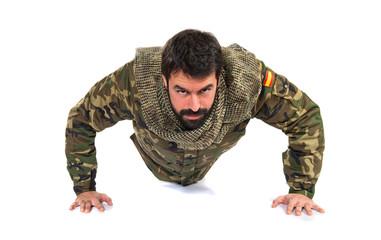 Military doing pushups