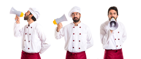 Chef shouting by megaphone